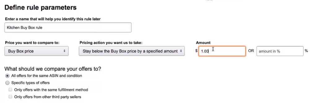 amazon set up pricing rules
