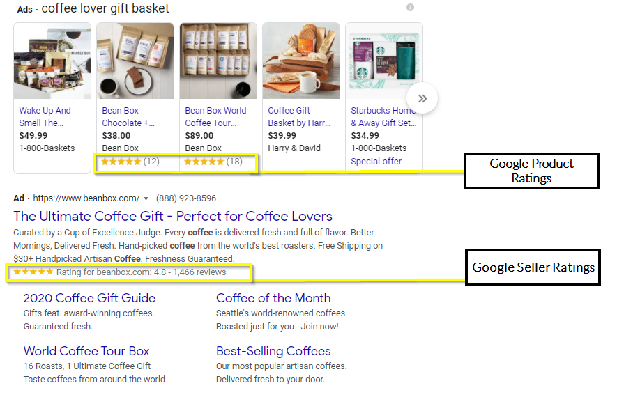 Example of Google Shopping review placements