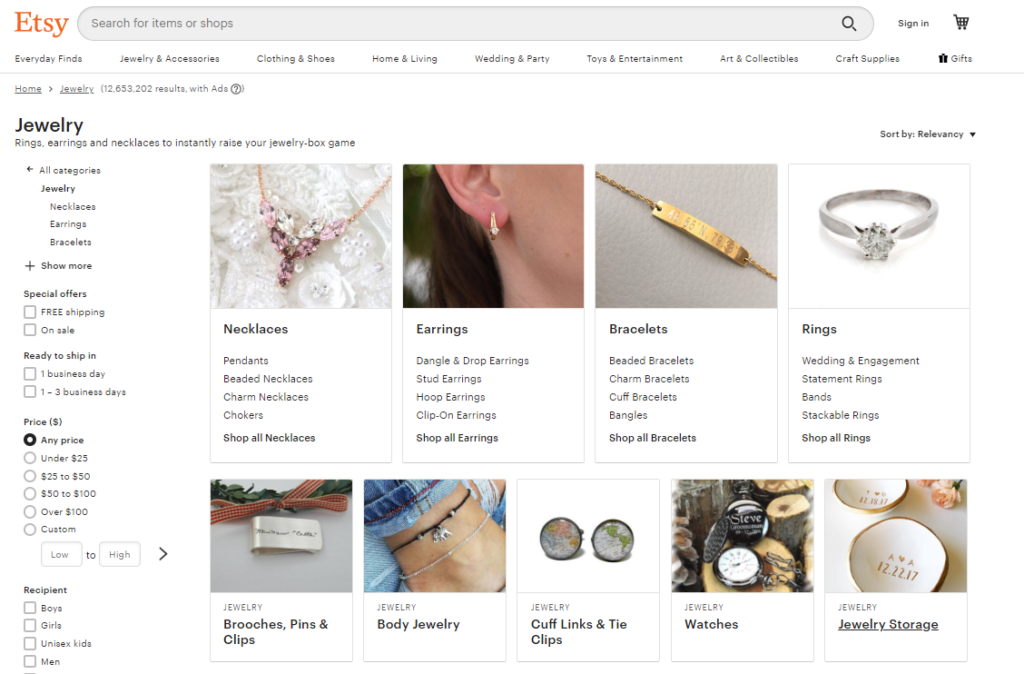 sell jewelry on Etsy